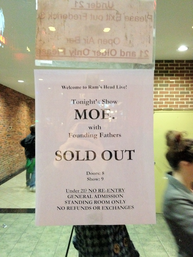 moe Rams Head Live 2012-03-10 sold out sign
