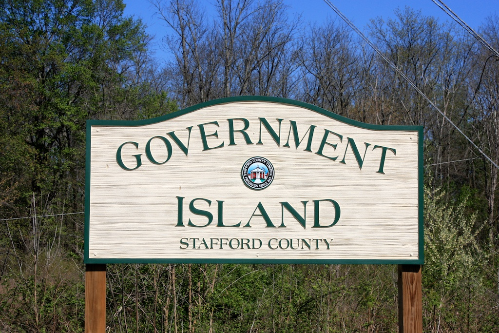 Government Island entrance sign